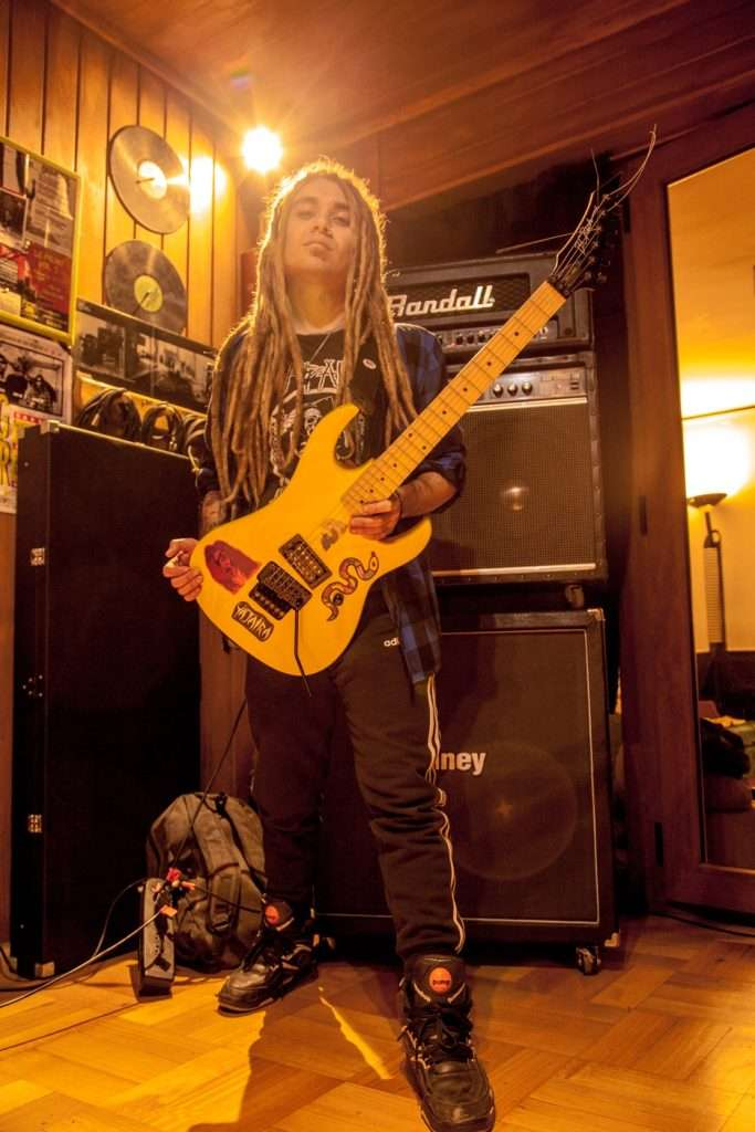 Randall Jazz Chorus 120 and Laney amps with BC Rich guitar, Napalm Death Shirt, adidas pants and Rebook Twilightzone sneakers